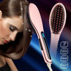 FHS HQT-906 Digitálna antistatická keramická žehlička s kefou na vlasy
