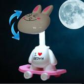 TFY NO.84422-rabbit Stolová lampa detská, biely zajac na skateboarde