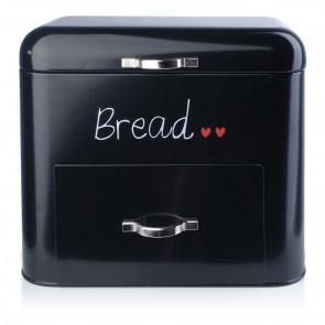 Affek design MX4192 Retro chlebník na nožičkách kovový 30 x 18,4 x 26,1 cm, čierny
