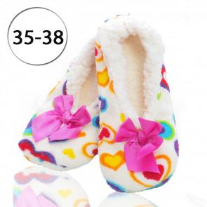 Emi Ross Ej-2302-WH2 Dámske papuče - balerínky z ovčej vlny, 35-38 srdiečka, biela
