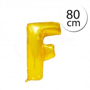 FUN RAG Gold-66305–F Mini fóliový balónik písmeno F zlatý, 80 cm, 1 ks
