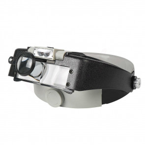 LightHead MG81007-A Náhlavná lupa s ochrannými zväčšovacími sklami 1,5 x, 3x, 8,5 x, 10 x + LED svetlo, čierna