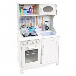 Malatec KD4581 Detská drevená kuchynka, biela
