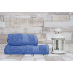 TFY Wellness-MO17-Blue Sada bavlnenej osušky s uterákom, 2ks,  55 x 100 cm, 70 x 140 cm, modrá