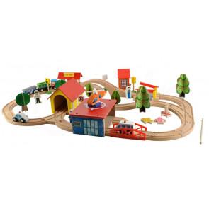 RAILWAY 6158 Drevená železnica pre deti, 69 dielov