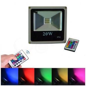 LuxRay IP66 LED reflektor 20W RGB s diaľkovým ovládaním, farebný