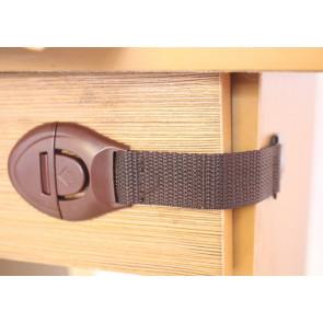 TFY 11.7908 Bezpečnostná zábrana na skrine a zásuvky 1 ks, 21,5 x 2,5 x 5 cm, hnedá