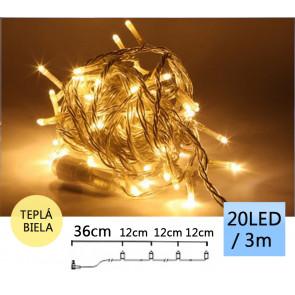TFY NO34984 Vianočné LED osvetlenie reťaz 20 LED, 3m, teplá biela