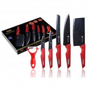 Zillinger ZL-865 6-dielna sada nožov s mramorovým povrchom s keramickou škrabkou, noze, nože, kuchynske noze,  blok na noze, keramicke noze